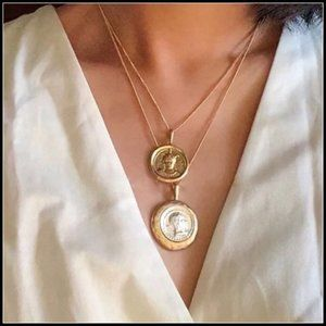 NEW 18K Gold Vintage Coin Double Chain Necklace